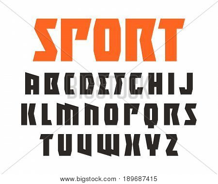 Sanserif font in sport style. Extra bold face. Design for titles and logo. Isolated on white background