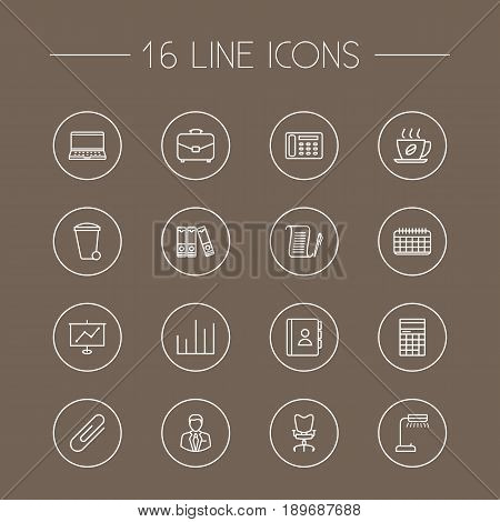 Set Of 16 Bureau Outline Icons Set.Collection Of Counter, Agreement, Show And Other Elements.