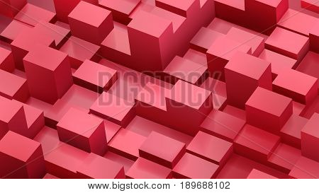 Abstract Background Of Cubes And Parallelepipeds In Red Colors