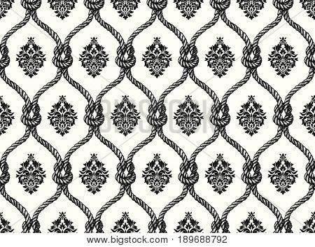 Rope seamless tied fishnet damask pattern