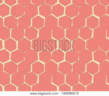 Abstract pattern of unequal cracks hexagons. Wallpaper