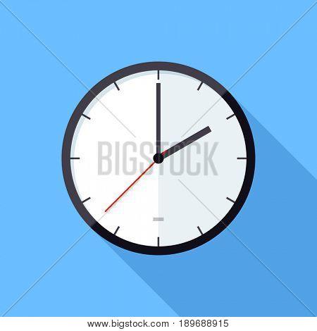 Clock icon. Flat Design icon. Illustration flat design with long shadow