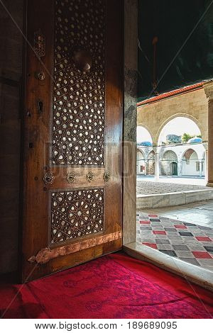ISTANBUL TURKEY - APRIL 30 2017: Door of Mihrimah Sultan Mosque inlaid with mother of pearl in the area Edirnekapi Istanbul's historic centre