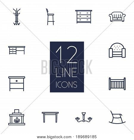 Set Of 12 Situation Outline Icons Set.Collection Of Table, Drawer Unit, Fireplace And Other Elements.