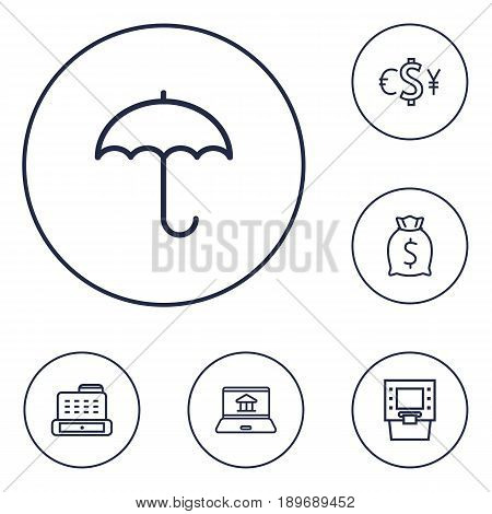 Set Of 6 Finance Outline Icons Set.Collection Of Cash Register, Internet Banking, Moneybag And Other Elements.