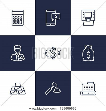 Set Of 9 Finance Outline Icons Set.Collection Of Golden Bars, Exchange, Moneybag And Other Elements.
