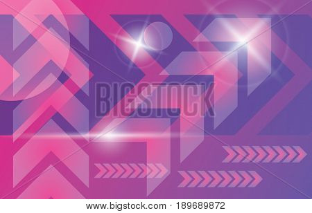 Abstract modern technology vector background. Violet purple pink arrows cyber energy motion template.