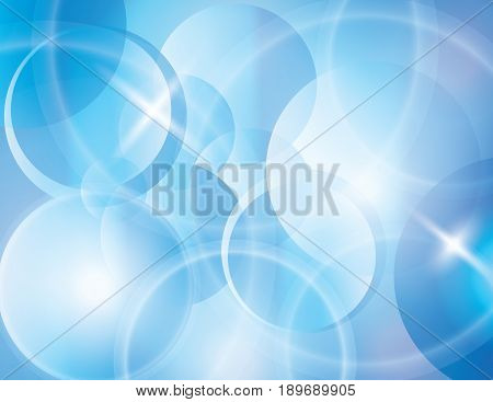 Blue abstract vector background. Lines circles curved blur bokeh gradient illustration.