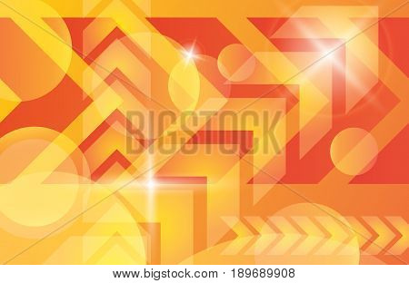 Red orange yellow arrows abstract futuristic vector background. Bright light techno banner decoration