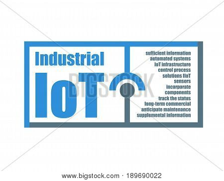Industrial IoT characteristics words related vector illustration. Internet of things modern technology concept
