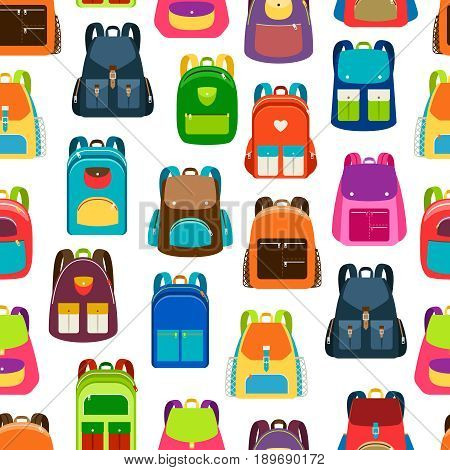 School cartoon pattern with flat colorful backpacks and rucksacks on white background. Vector illustration
