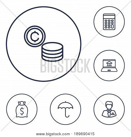 Set Of 6 Finance Outline Icons Set.Collection Of Calculator, Businessman, Moneybag And Other Elements.