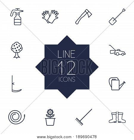 Set Of 12 Horticulture Outline Icons Set.Collection Of Waterproof Shoes, Firehose, Atomizer And Other Elements.