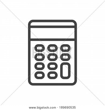 Isolted Calculate Outline Symbol On Clean Background. Vector Calculator Element In Trendy Style.