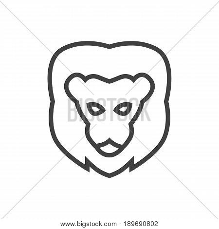 Isolted Tiger Outline Symbol On Clean Background. Vector Lion  Element In Trendy Style.