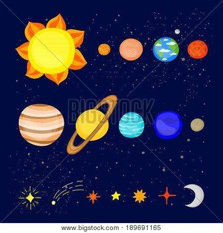 Set of colorful cartoon planets of the solar system isolated on blue space background.