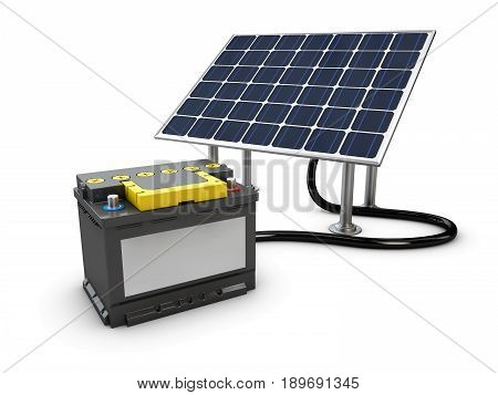 Energy concept background with solar panel and charging battery. 3d illustration