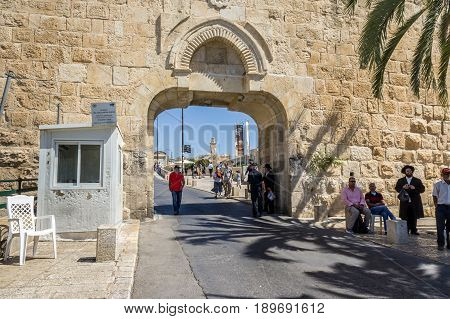 JERUSALEM, ISRAEL - MAY 12: The Dung Gate, gate to the Old City near the Western Wall on the Temple Mount in Jerusalem, Israel on May 12, 2016
