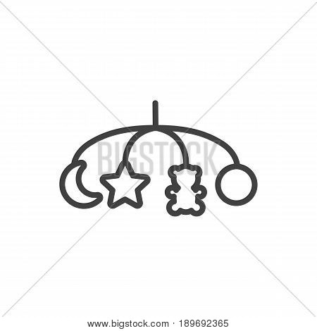 Isolted Hangings Outline Symbol On Clean Background. Vector Toys Element In Trendy Style.
