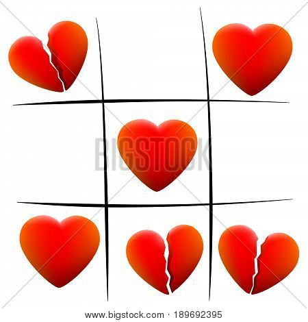 Heartbreak tic tac toe - love hearts and broken hearts - isolated vector illustration on white background.