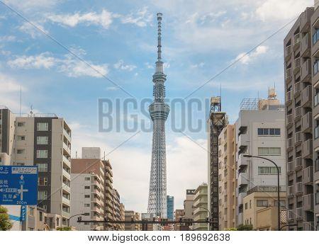Tokyo Japan - May 4 2017: Tokyo Skytree view from of Sumida street.