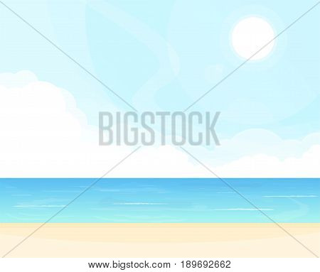 Hello summer beach party. Sea and clouds waves tropical background. Ocean view and blue sky. Sunny cloudless day on ocean shore. Vacation poster concept. Paradise tropic beach.