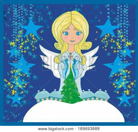 Abstract Christmas card with angel , vector illustration
