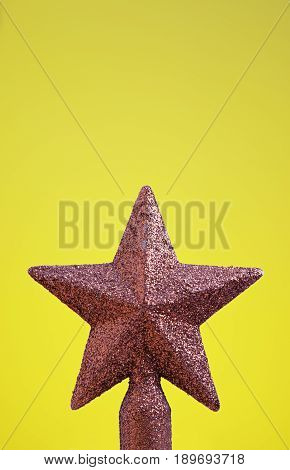 Star Christmas decoration detail at parties in a yellow object fun and celebration