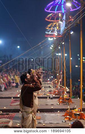 Ganga Maha Aarti Ceremony At Dasashvamedh Ghat In Varanasi, India