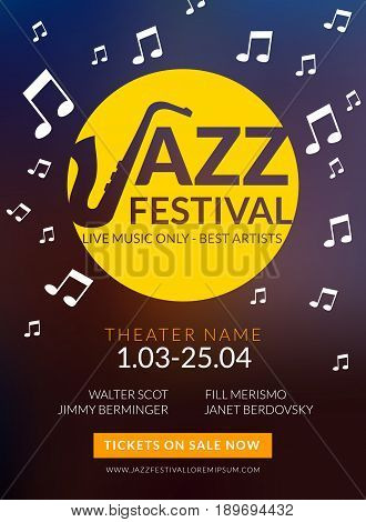 Vector musical flyer Jazz festival. Music poster background festival banner or flyer template