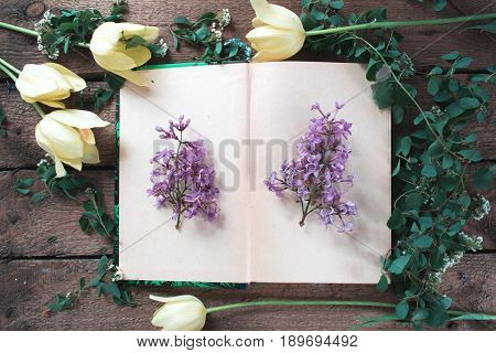 An open book with flowers and leaves