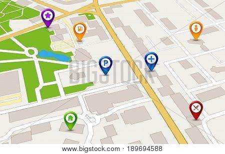 Perspective city map GPS service concept. 3d city map design.