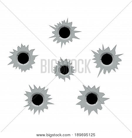 Bullet holes cracks illustration. Criminal gun steel hole. Target shot violence and war concept. Weapon vector hole.