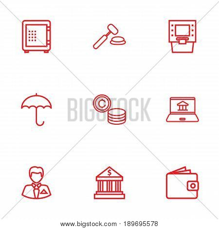 Set Of 9 Budget Outline Icons Set.Collection Of Protect, Safe, Auction And Other Elements.