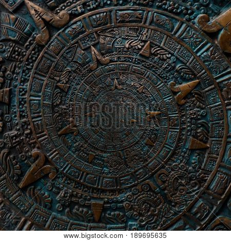 Bronze ancient antique classical spiral aztec ornament pattern decoration design background. Abstract texture fractal CCW spiral background. Bronze color spiral effect