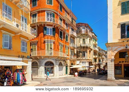 CORFU ISLAND, GREECE, JUN,06, 2014: Kerkyra downtown classical Greek old houses buildings architecture of Greece Corfu island. Greece holidays vacation touristic tours. Sightseeing view points