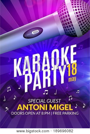 Karaoke party invitation poster design template. Karaoke night flyer design. Music voice concert.