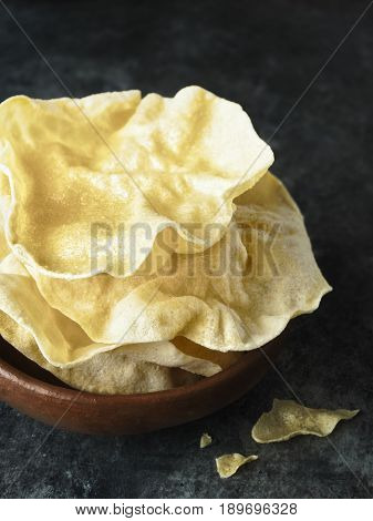 close up of rustic indian papadum crisp