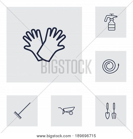 Set Of 6 Farm Outline Icons Set.Collection Of Barrow, Harrow, Instruments And Other Elements.