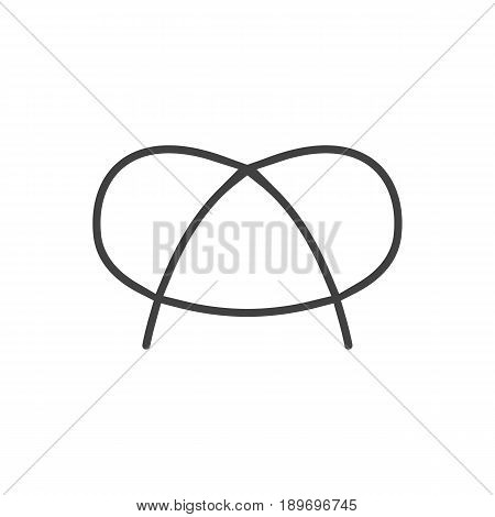Isolted Snack Outline Symbol On Clean Background. Vector Pretzel Element In Trendy Style.