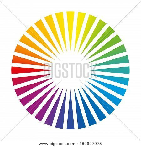 Color circle - round color fan deck with 32 different colored triangles that cause a brilliant white glowing center, an optical illusion - isolated vector illustration on white background.