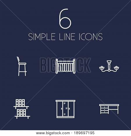 Set Of 6 Decor Outline Icons Set.Collection Of Bookshelf, Chandelier, Desk Elements.