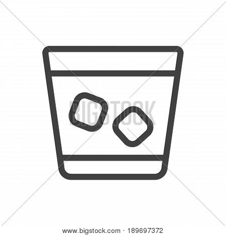 Isolted Cognac Outline Symbol On Clean Background. Vector Whiskey Element In Trendy Style.