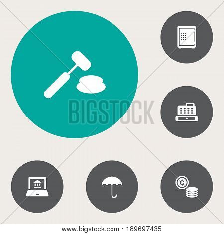 Set Of 6 Budget Icons Set.Collection Of Cash, Electron Report, Umbrella And Other Elements.