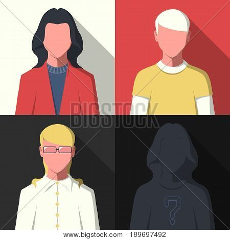 Flat avatar profile icons. Silhouette of business people vector illustration.