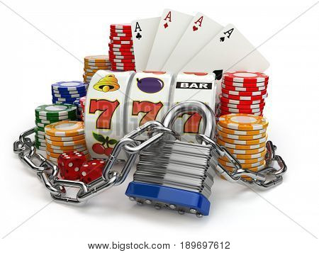 Gambling addiction concept. Slot machine, casino chips and chain with lock. 3d illustration