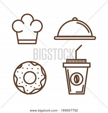 Hand drawn food related items over white background vector illustration