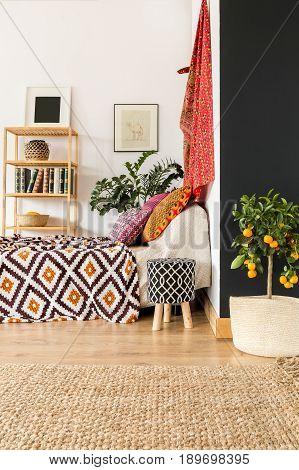 Bedroom With Orange Tree
