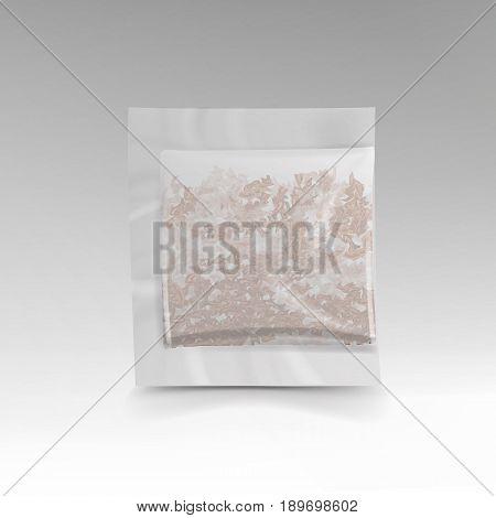 Realistic Tea Bag Teabag. Square Shape. Vector Template Illustration