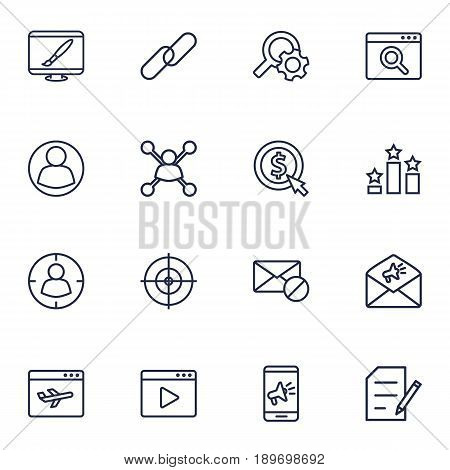 Set Of 16 Engine Outline Icons Set.Collection Of Cost Per, Advertising, Home And Other Elements.